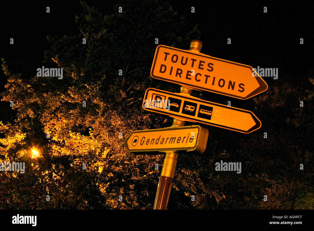 A French street sign showing 'Toutes Directions' - Stock Image