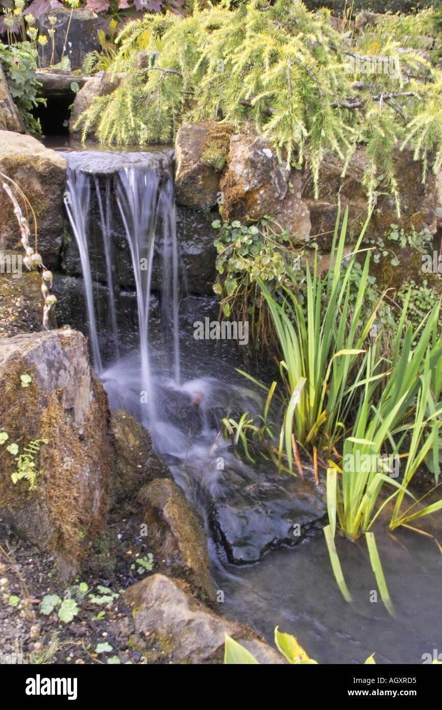 Small garden waterfall Stock Photo