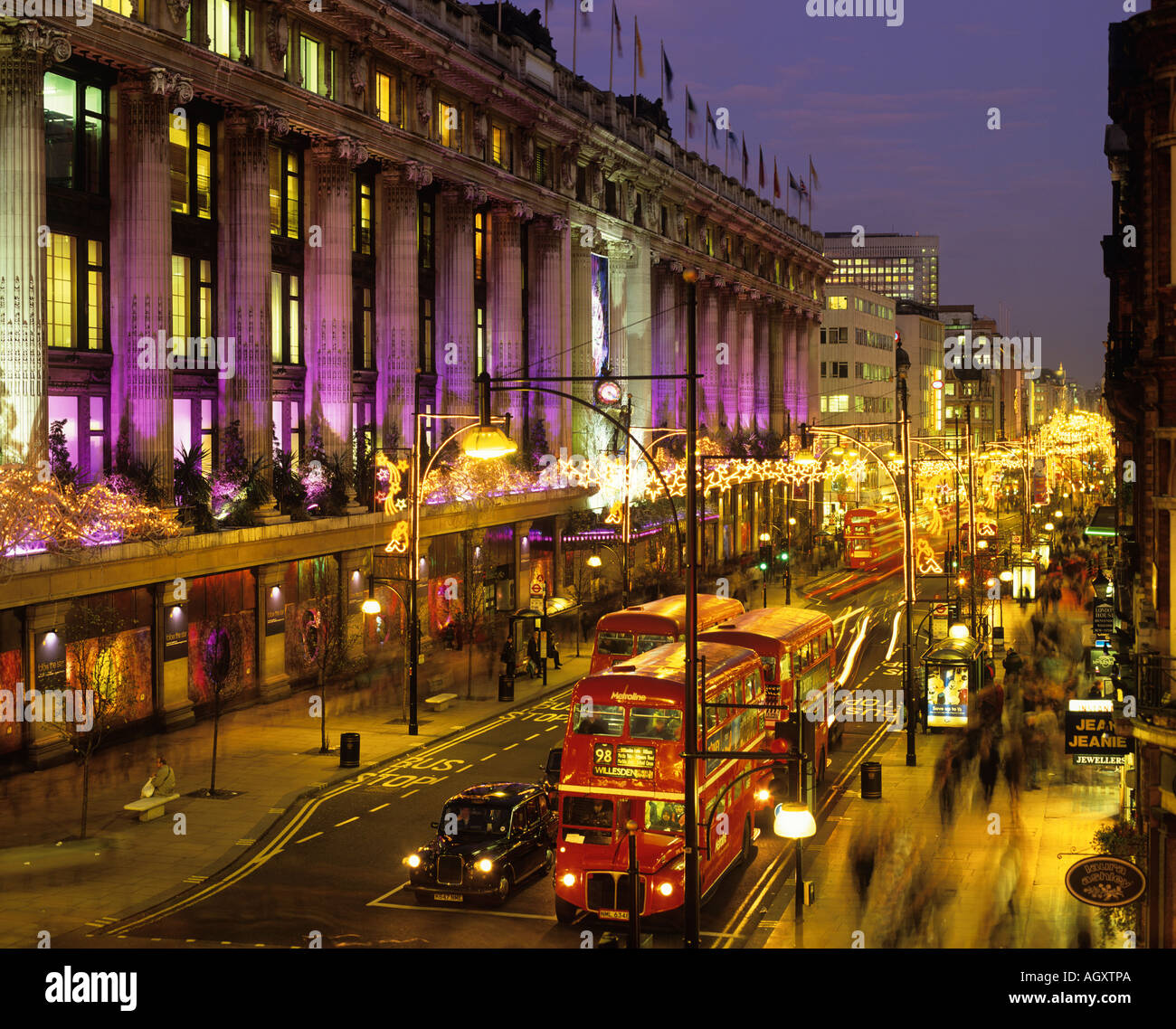 oxford street and selfridges at christmas london england uk stock photo 8172649 alamy. Black Bedroom Furniture Sets. Home Design Ideas