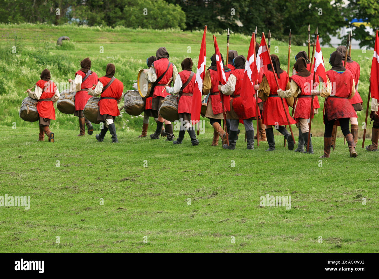 Marching Danish army in a medieval play about Nykoping in 1317 - Stock Image