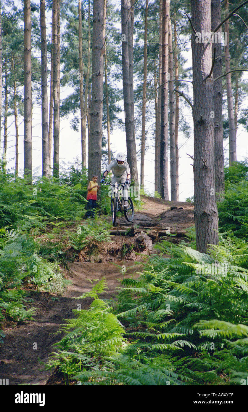 PICTURE CREDIT DOUG BLANE Mountain Biking at the bike park Brickhill Woods Wobrn Sands near Milton Keynes MK - Stock Image