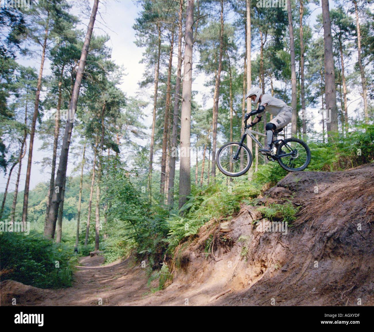 PICTURE CREDIT DOUG BLANE Mountain Biking at the bike park Brickhill Woods Wobrn Sands near Milton Keynes MK Stock Photo