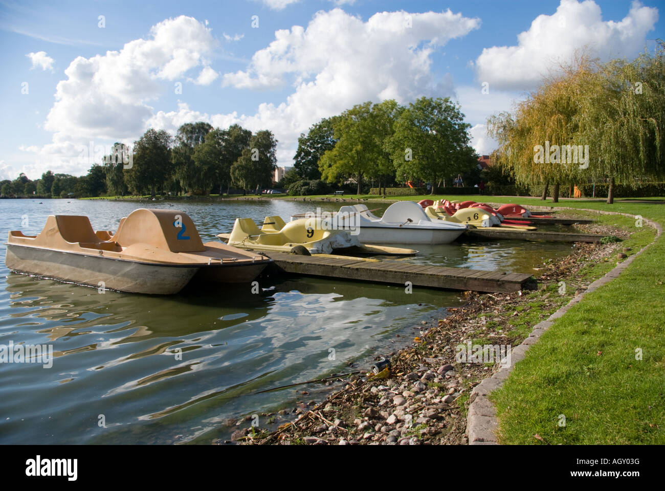 Water cycles at Damparken, Haderslev, Denmark. - Stock Image
