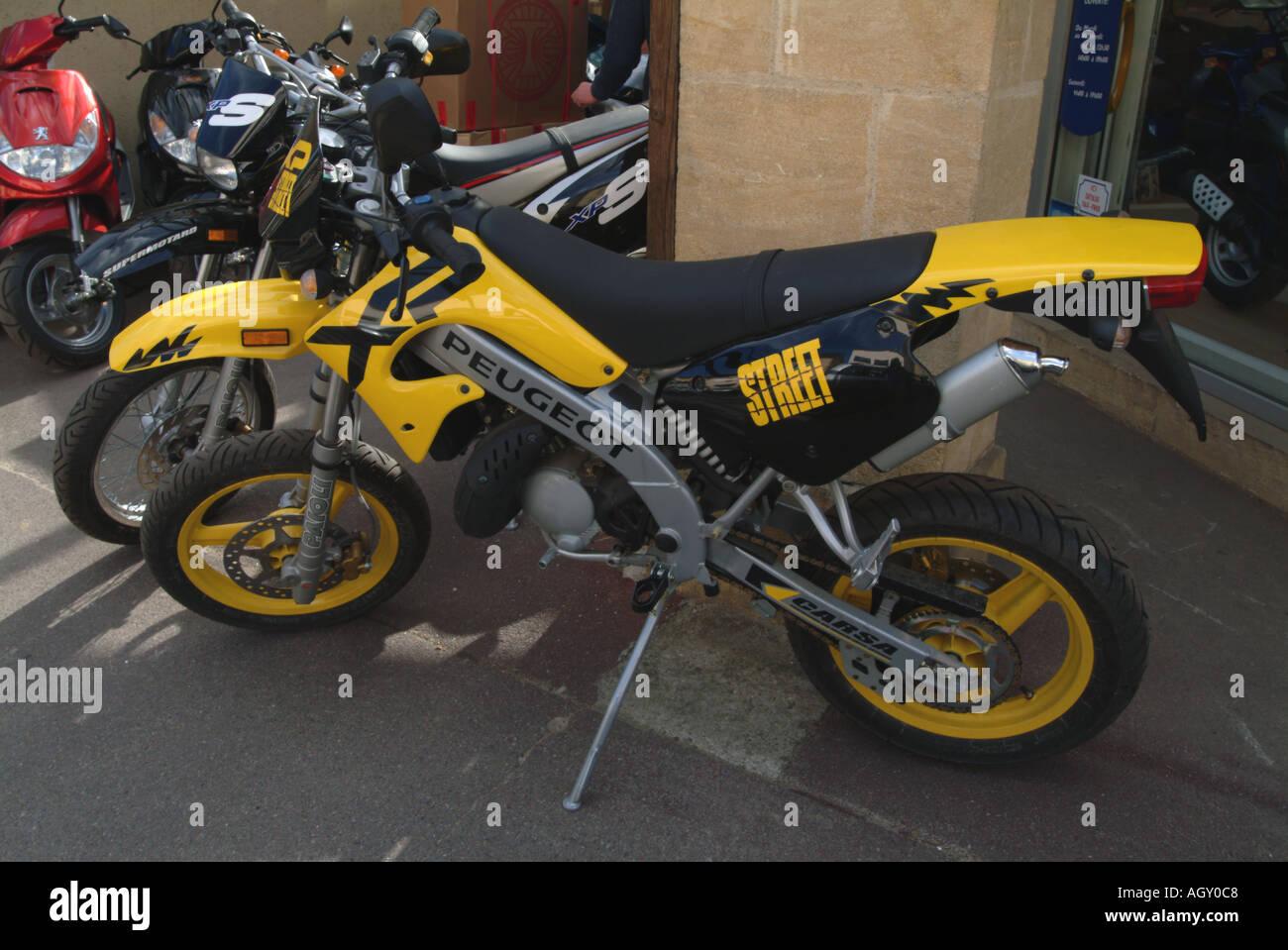 Motor bikes for sale France - Stock Image