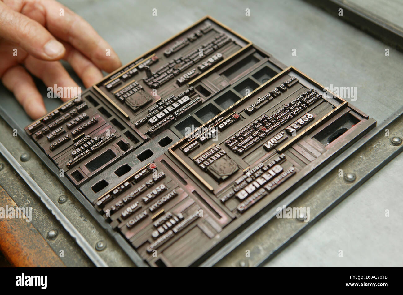 printing press, printing works, act, piece, typography, relief, character, plate, printer, illustration, art, technique, - Stock Image