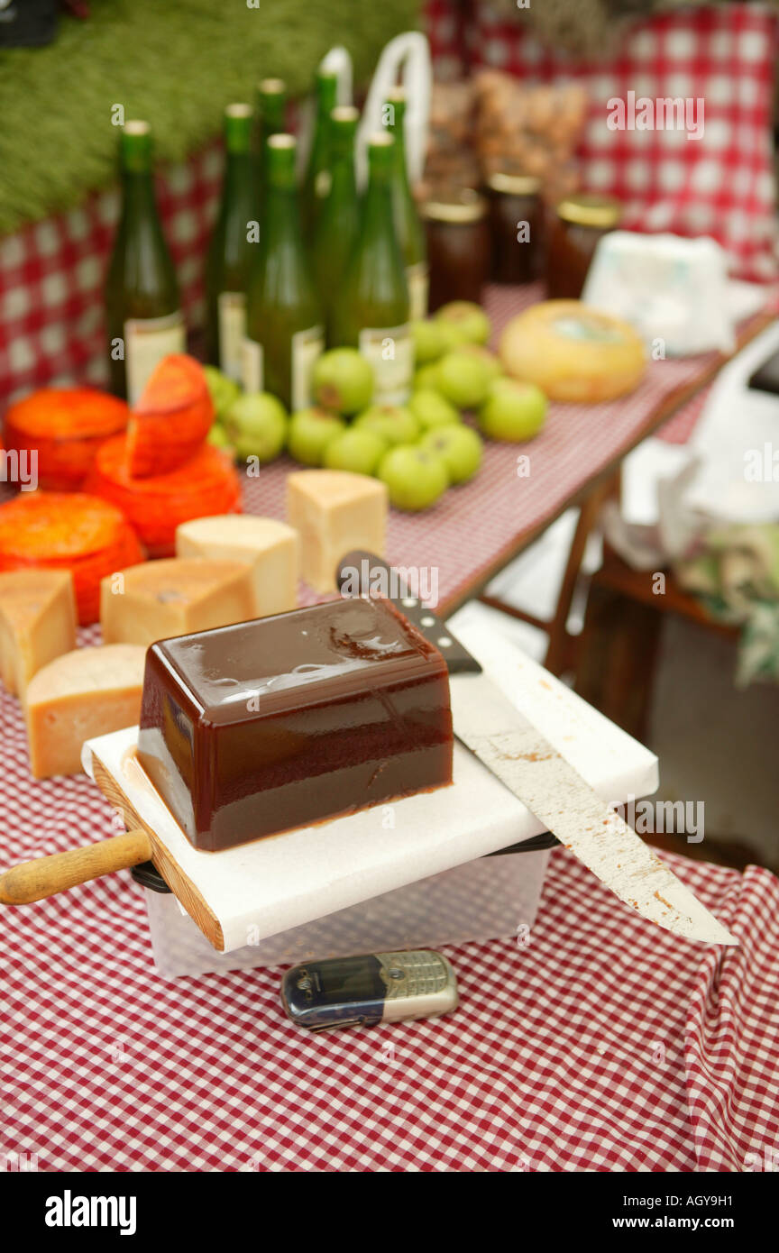 TolosaTown, Thursday market, Guipuzkoa, Basque Country, Spain, tipical, food regional, Spain, quince jelly, cider - Stock Image