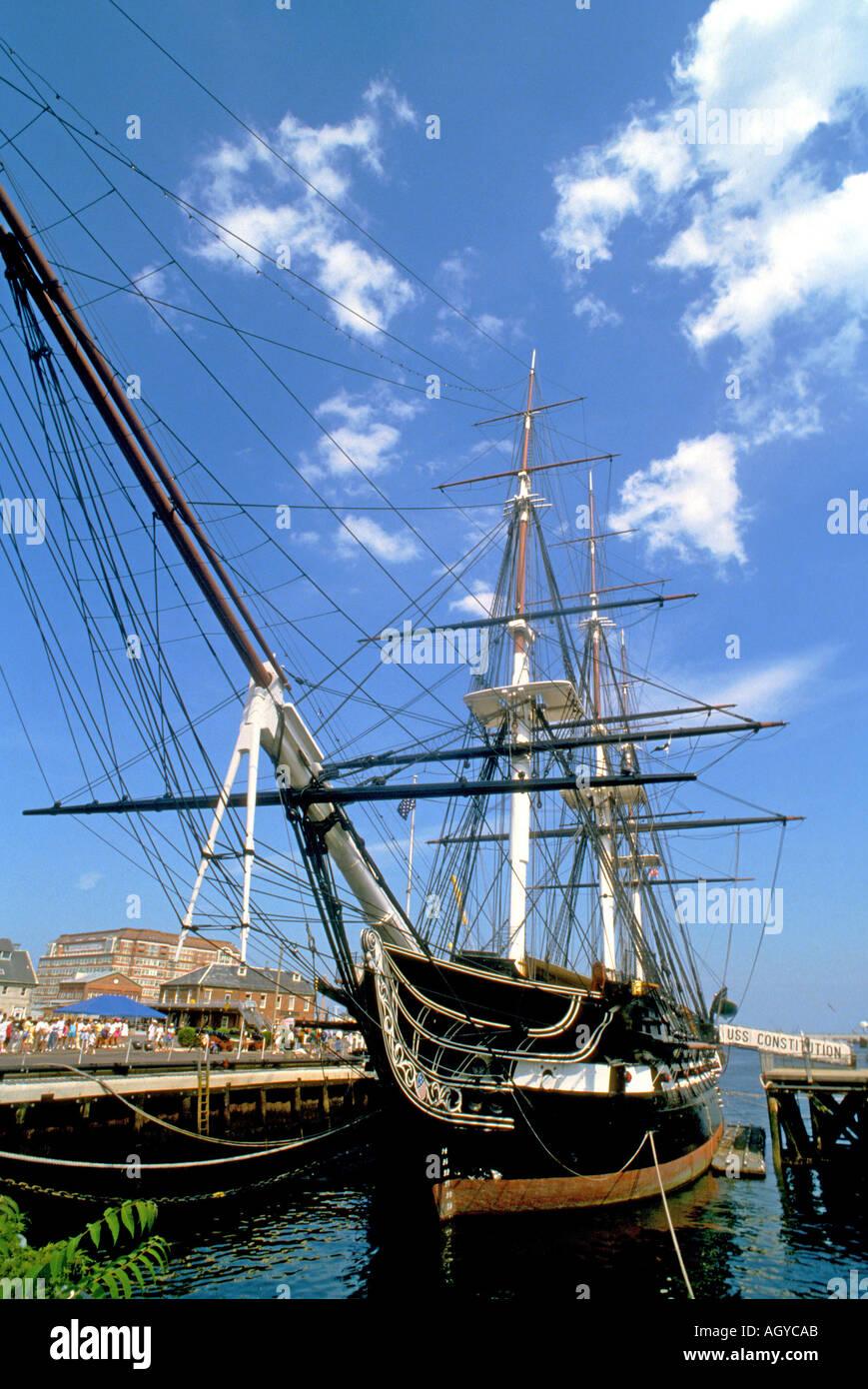 U S S Constitution historic ship Boston Massachusetts - Stock Image