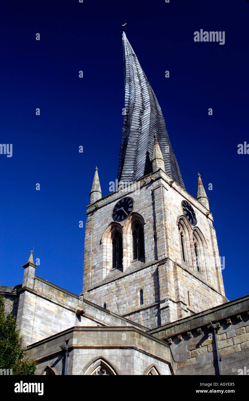 The famous crooked spire on the parish church of St Marys and All Saints in Chesterfield North Derbyshire England - Stock Image