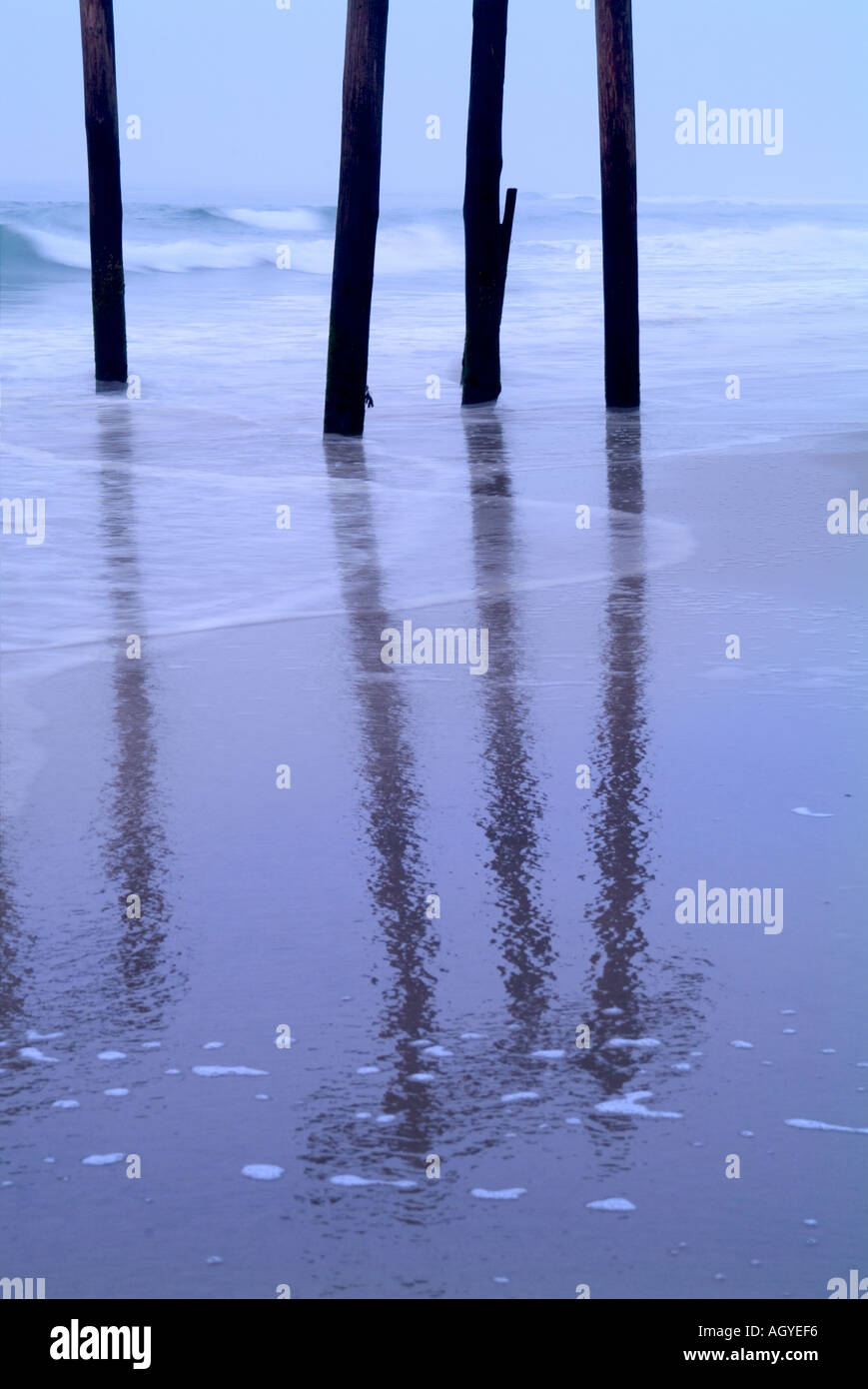 Pier Reflections - Stock Image