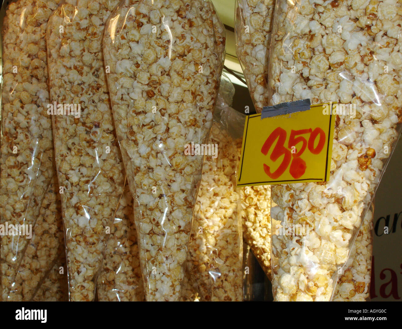 display of popcorn for sale - Stock Image