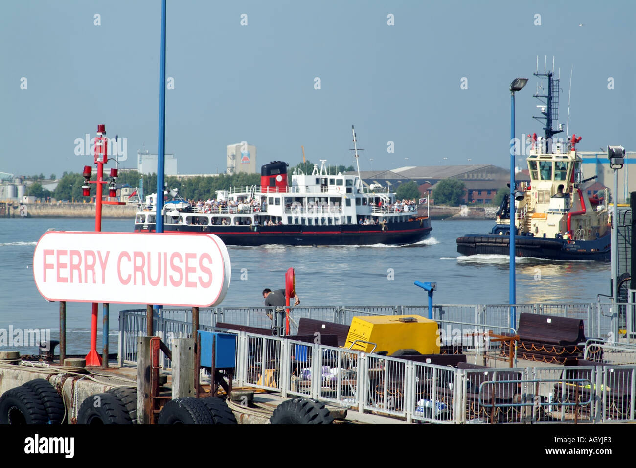 Mersey Ferry Royal Iris departs Pier Head Liverpool England UK - Stock Image