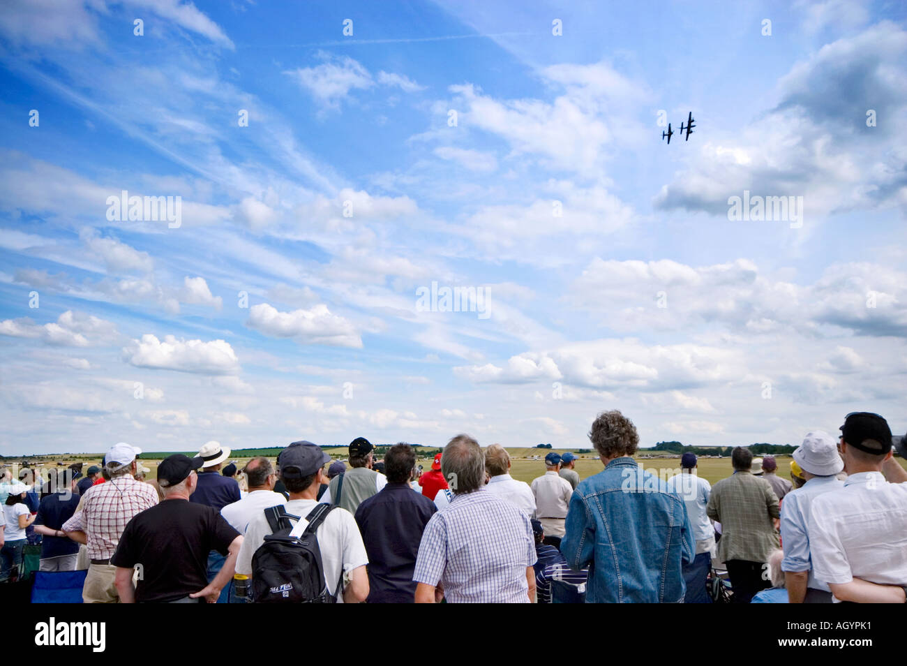 Spectators watching a display at the Flying legends airshow 2006 imperial war museum duxford cambridgeshire england Stock Photo
