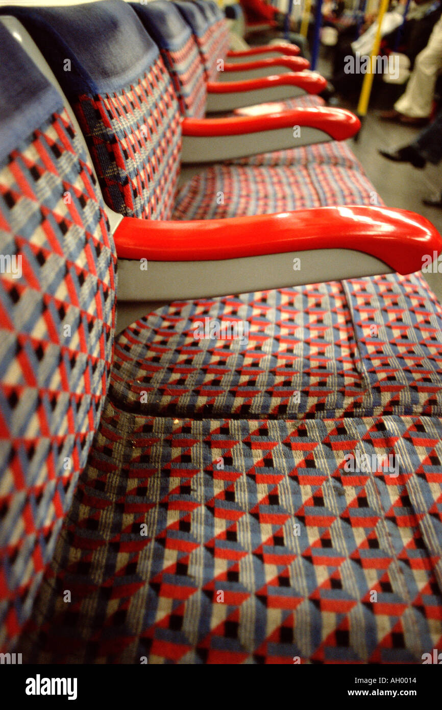 Empty seats on subway train - Stock Image