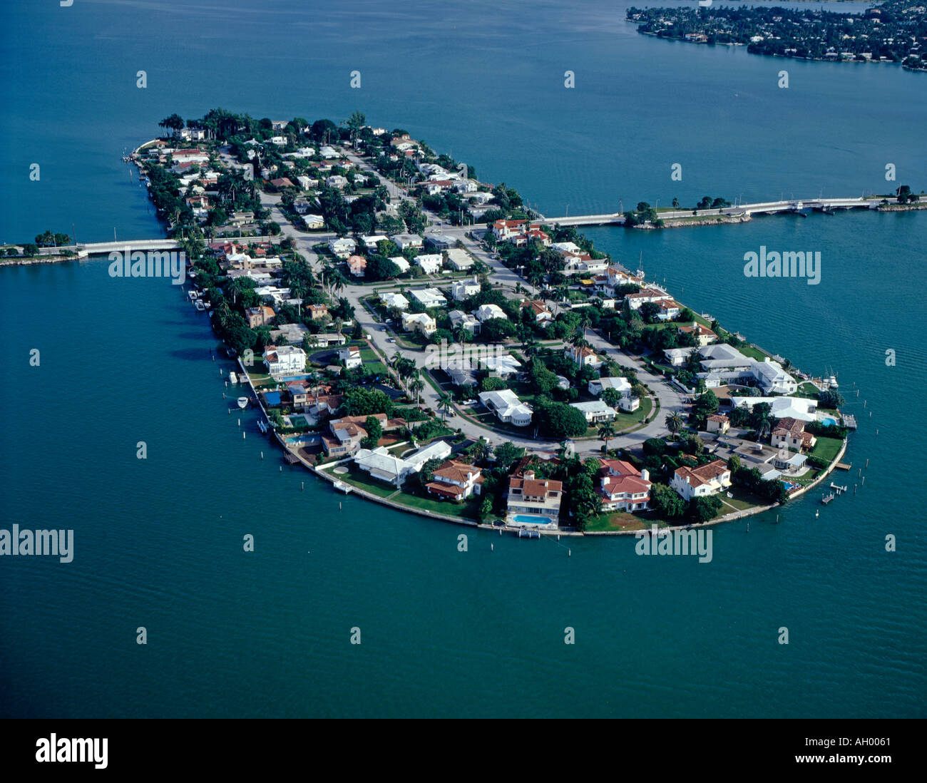 luxury homes on island in Biscayne Bay in Miami Florida USA - Stock Image