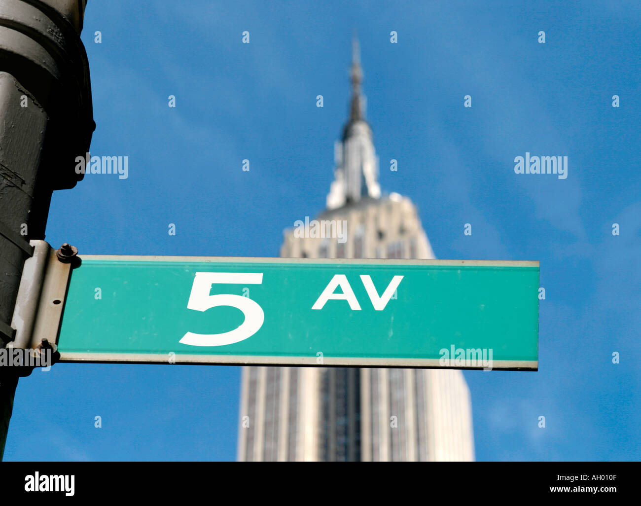 Fifth Avenue street sign with the Empire State Building behind, Manhattan, NYC, New York City, NY, USA Stock Photo