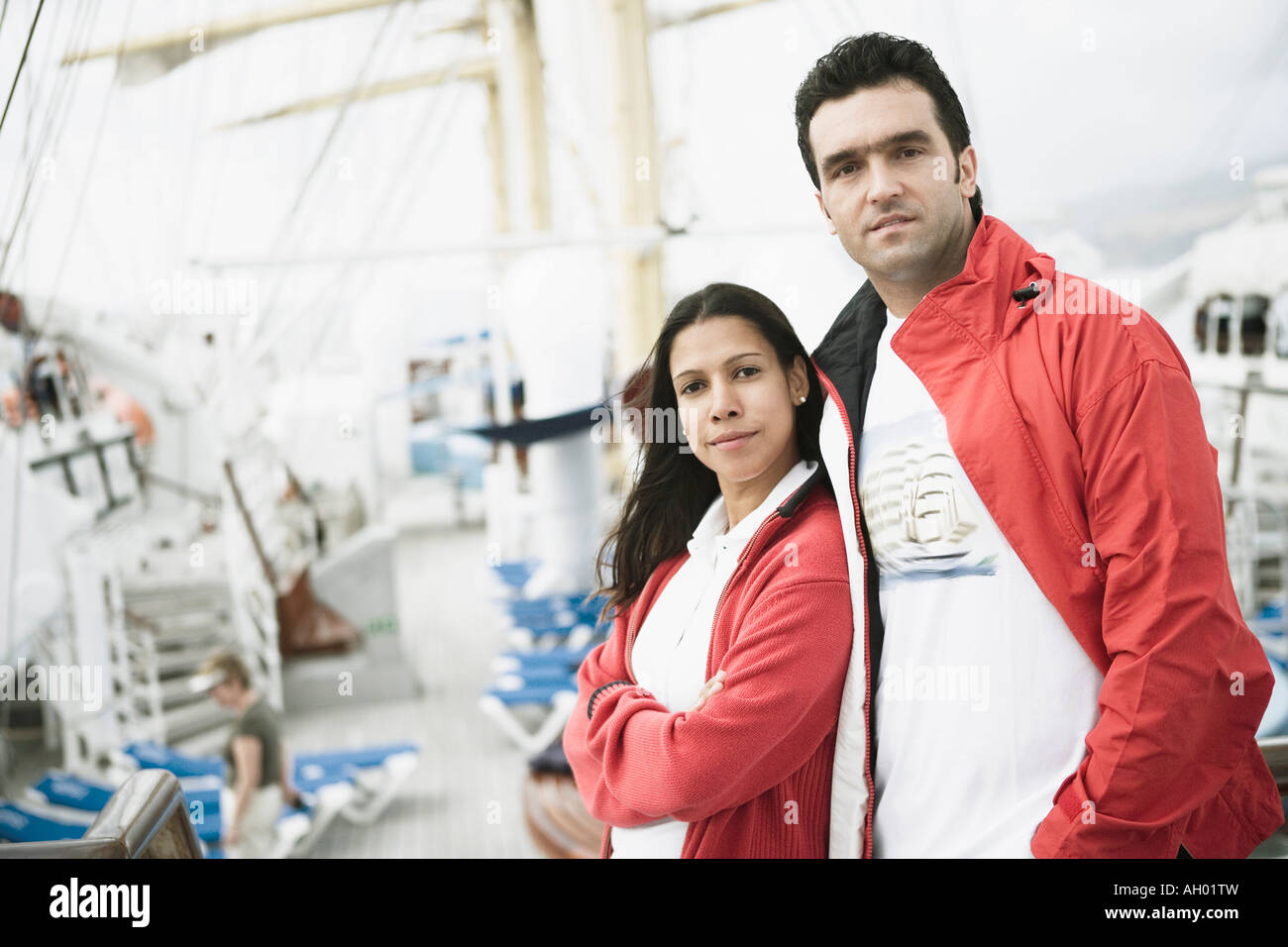 Portrait of a young couple on a passenger craft - Stock Image