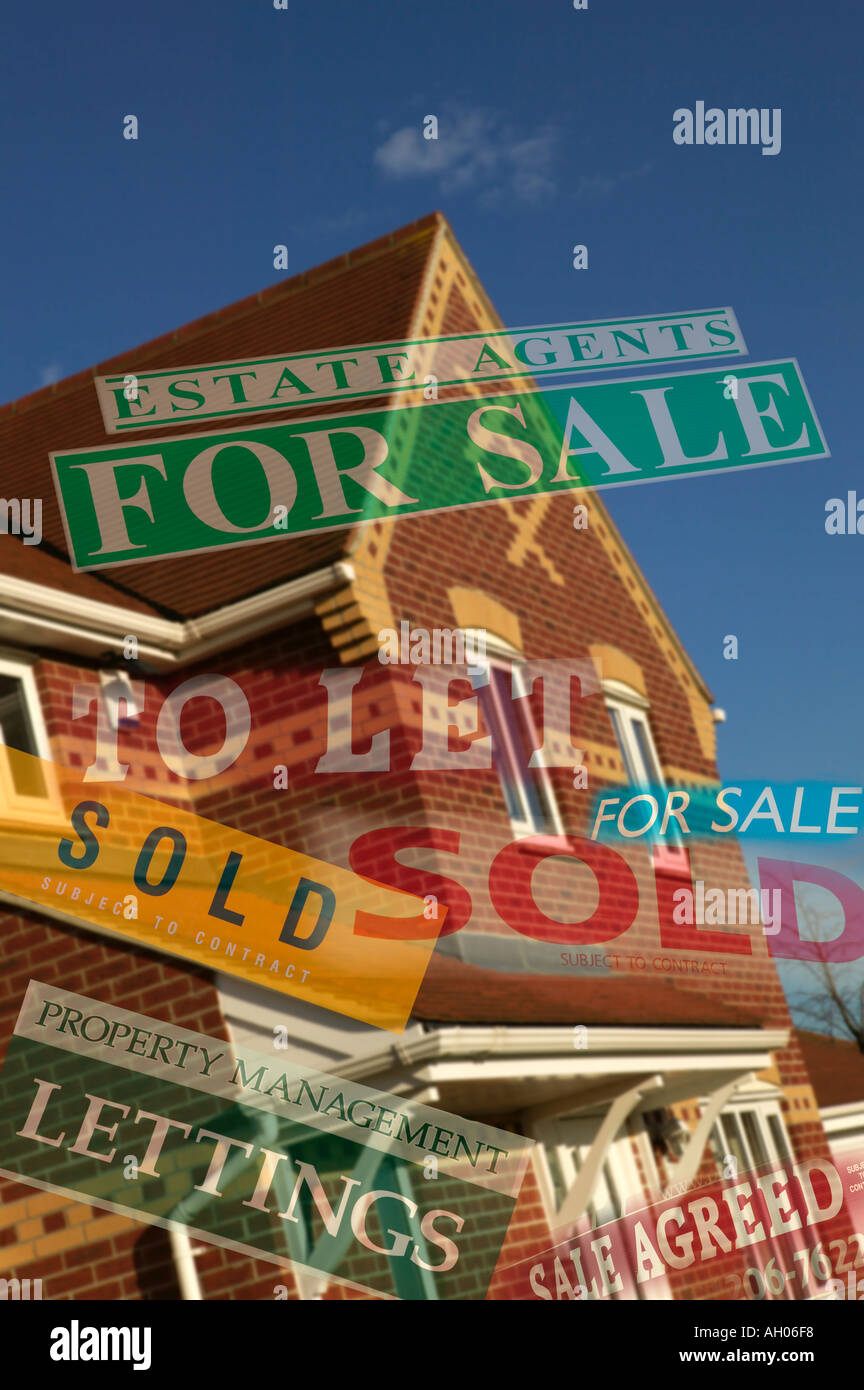 House Agent Boards For Sale To Let Sold Lettings - Stock Image