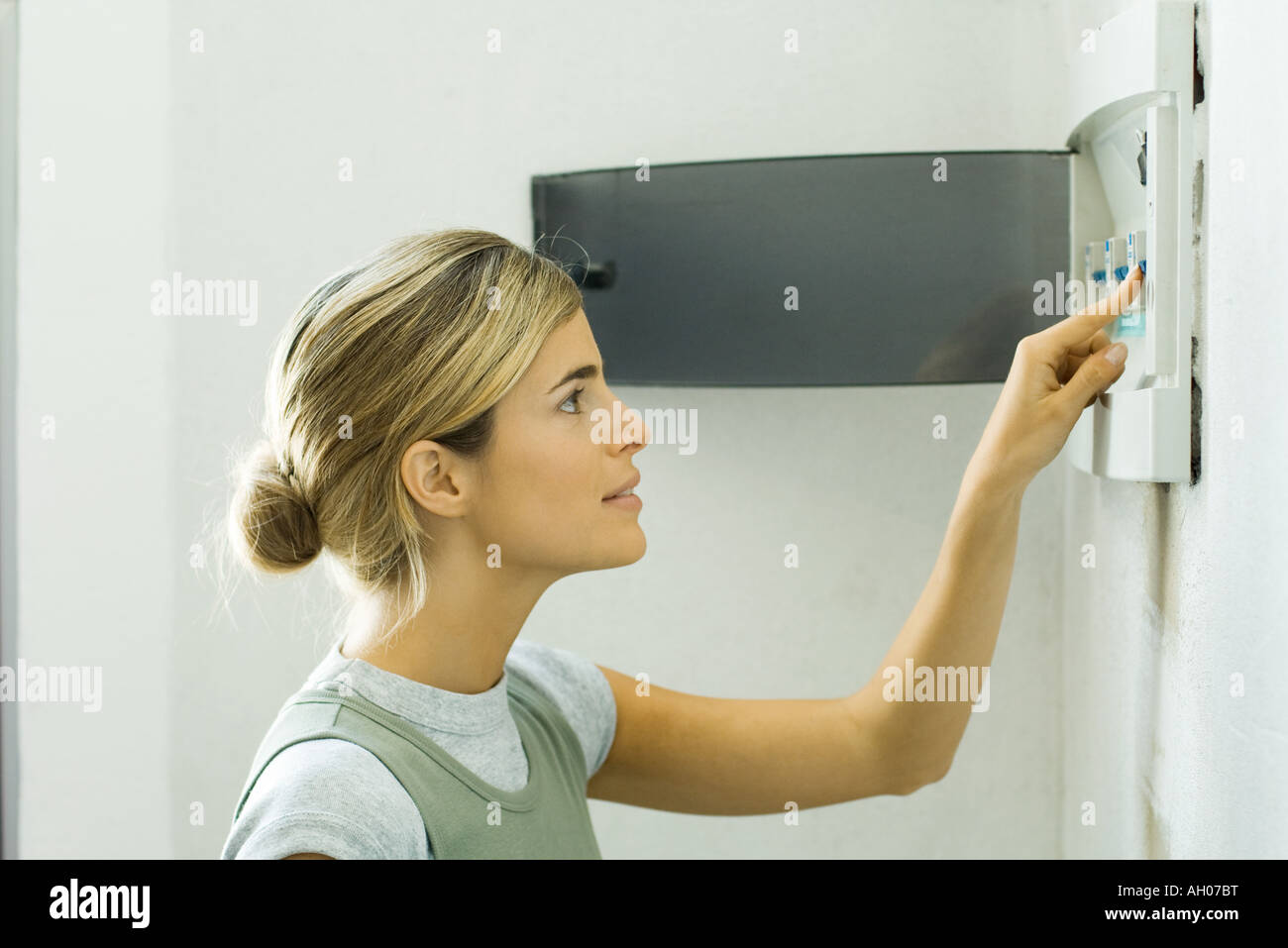 Fuse Box Stock Photos Images Alamy Fix Woman Pushing Lever In Image