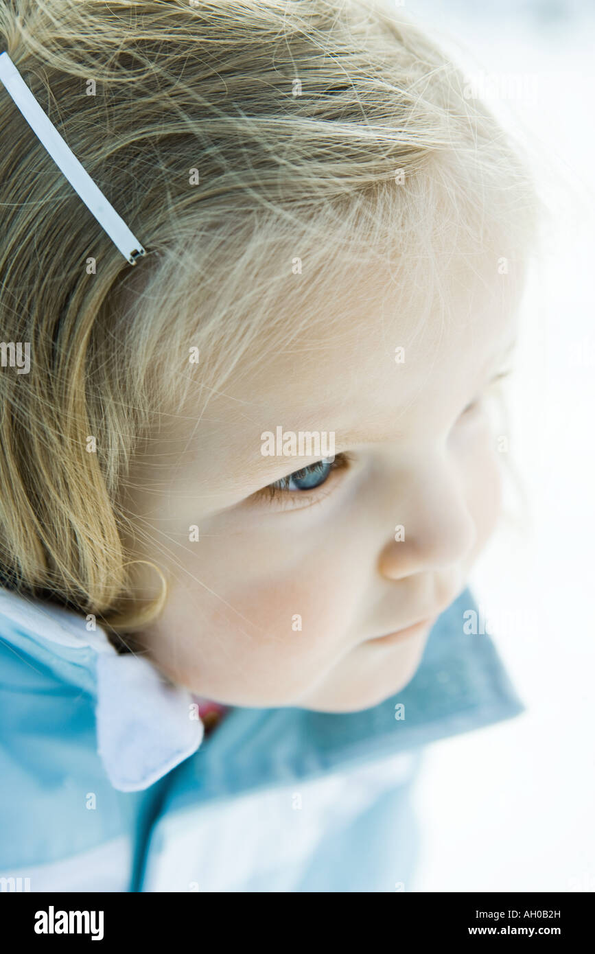 Toddler girl, high angle view, portrait - Stock Image
