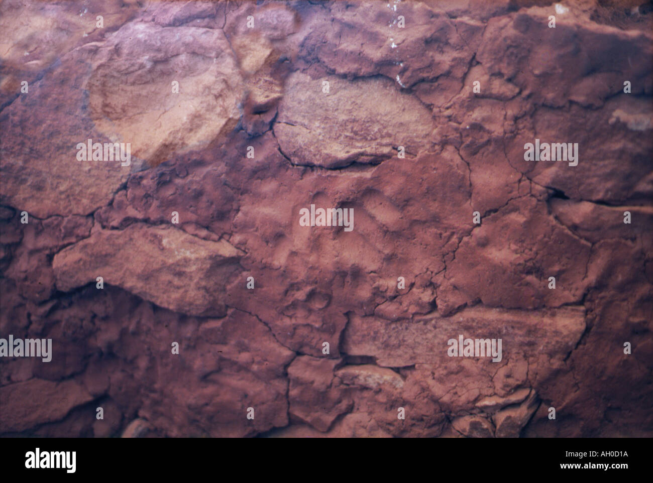 adobe wall in Anasazi cliff dwelling with fingerprints - Stock Image