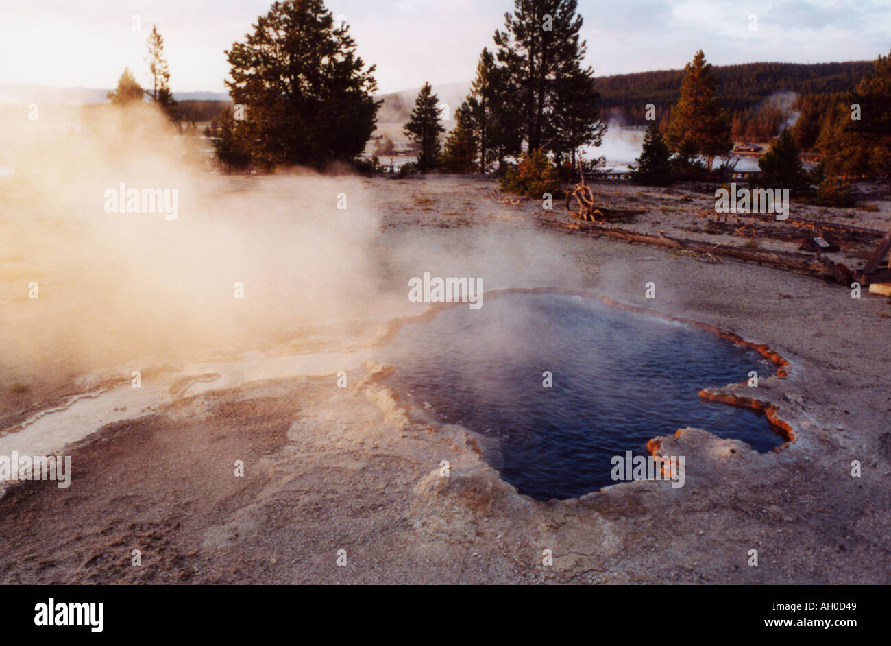Steaming hot paint pot in Yellowstone National Park, Wyoming - Stock Image