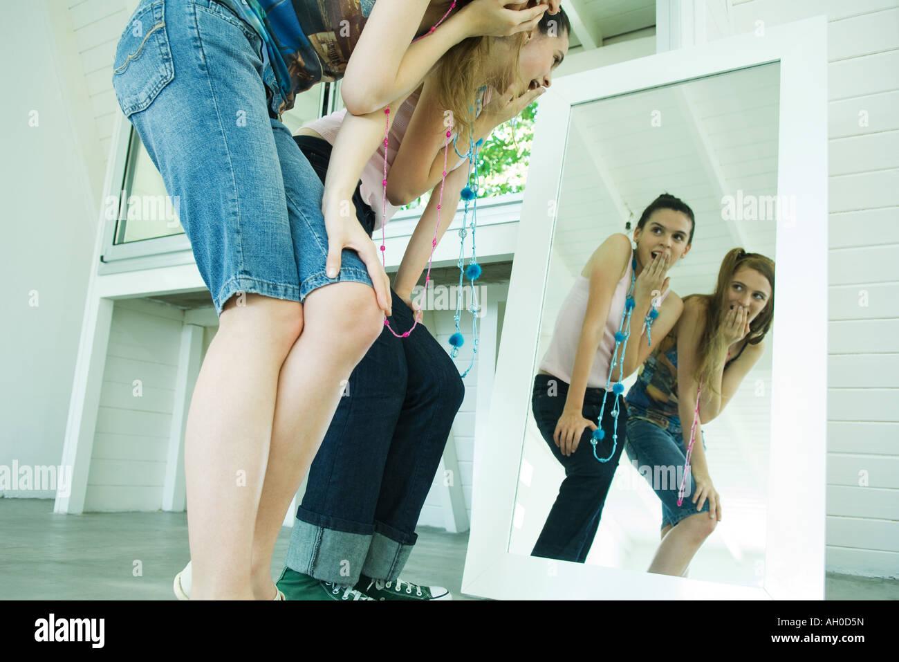 Good idea. young school girl bent over