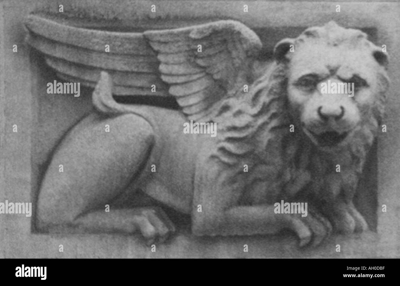 Carved stone griffin gargoyle from historic building. - Stock Image