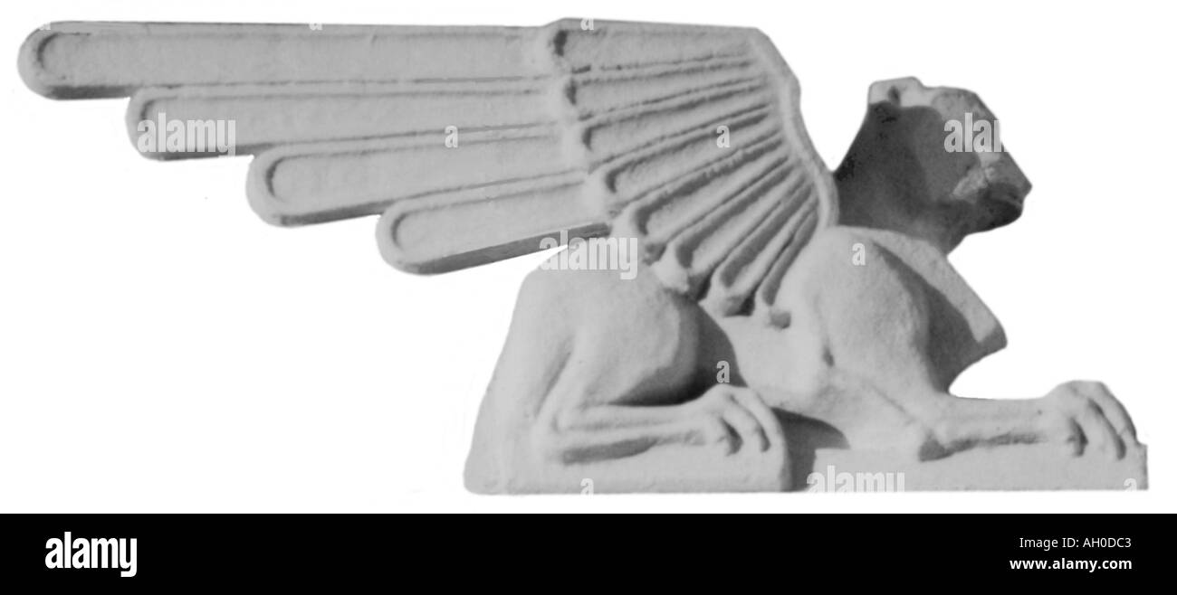 Historic carved stone griffin profile from old building in Seattle - Stock Image