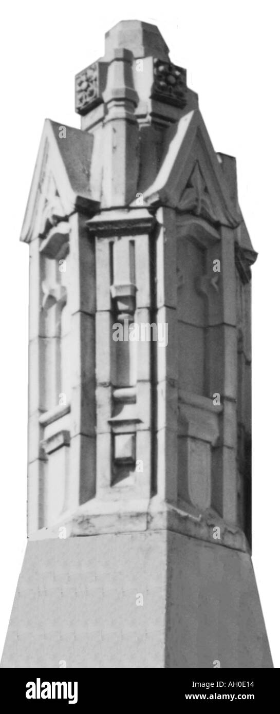 Cutout image of a small stone tower with turrets - Stock Image