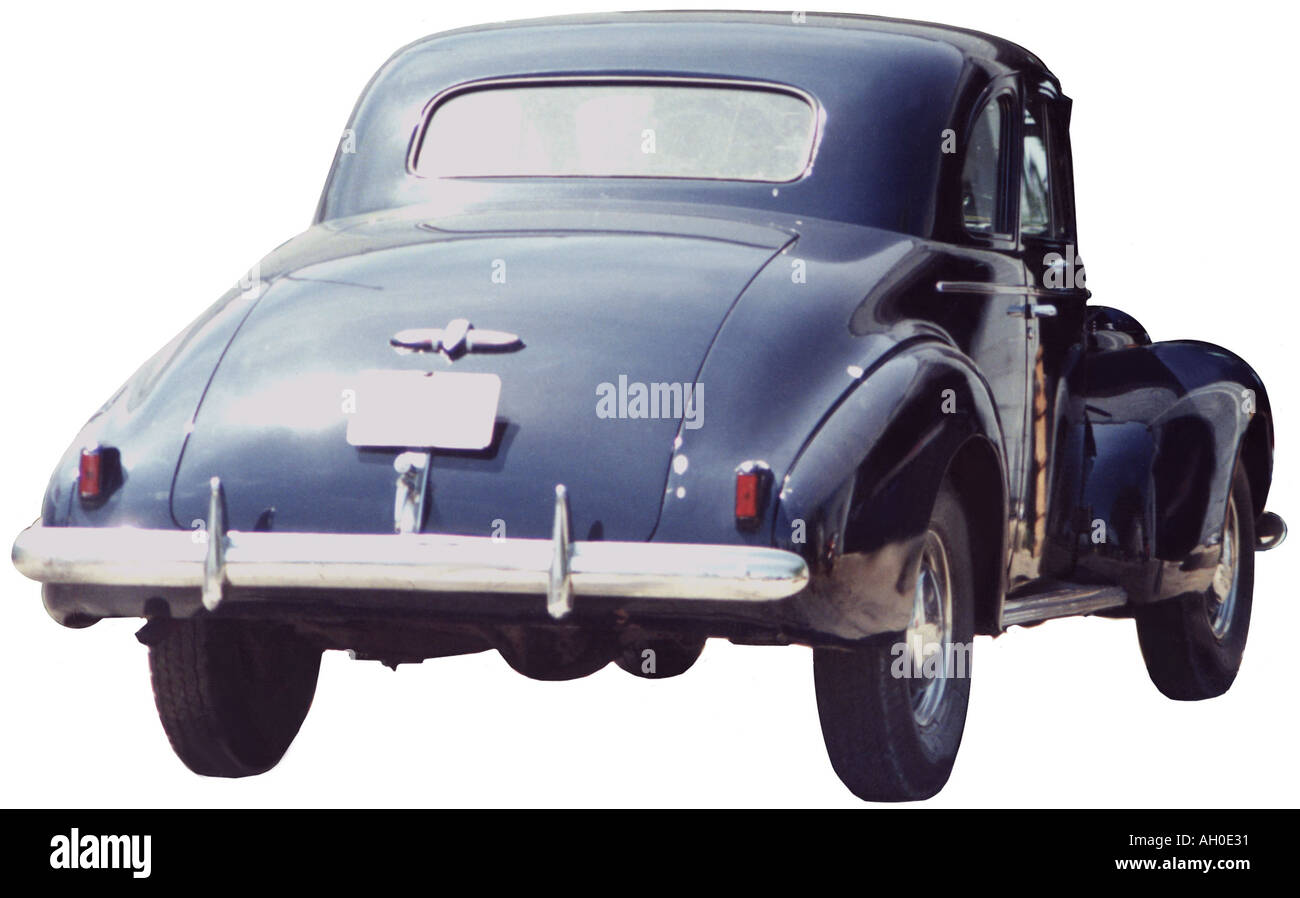 Cutout rear view image of a blue 1940 Deluxe Ford Coupe Stock Photo