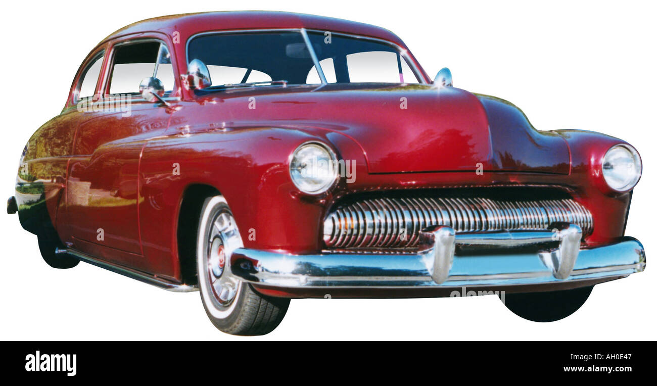 Red classic 1950 Mercury Sports Coupe - Stock Image