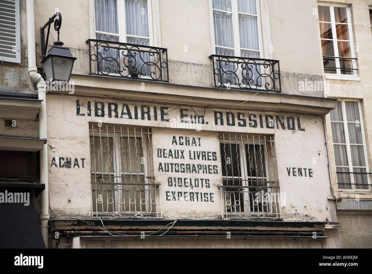 Building signage for booksellers on the Rue de L'Odeon Left Bank Paris - Stock Image