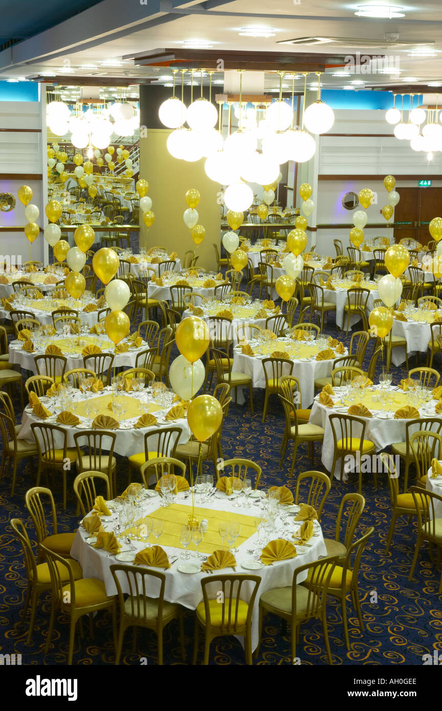 large banquet suite ready for a wedding feast Stock Photo