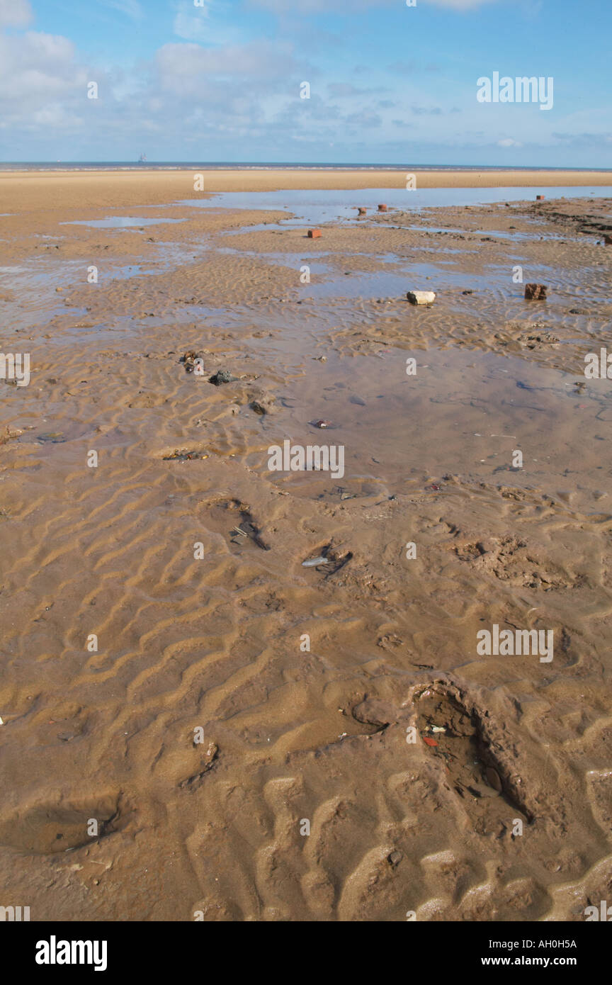 prehistoric footprints preserved in peat on Formby beach Merseyside - Stock Image