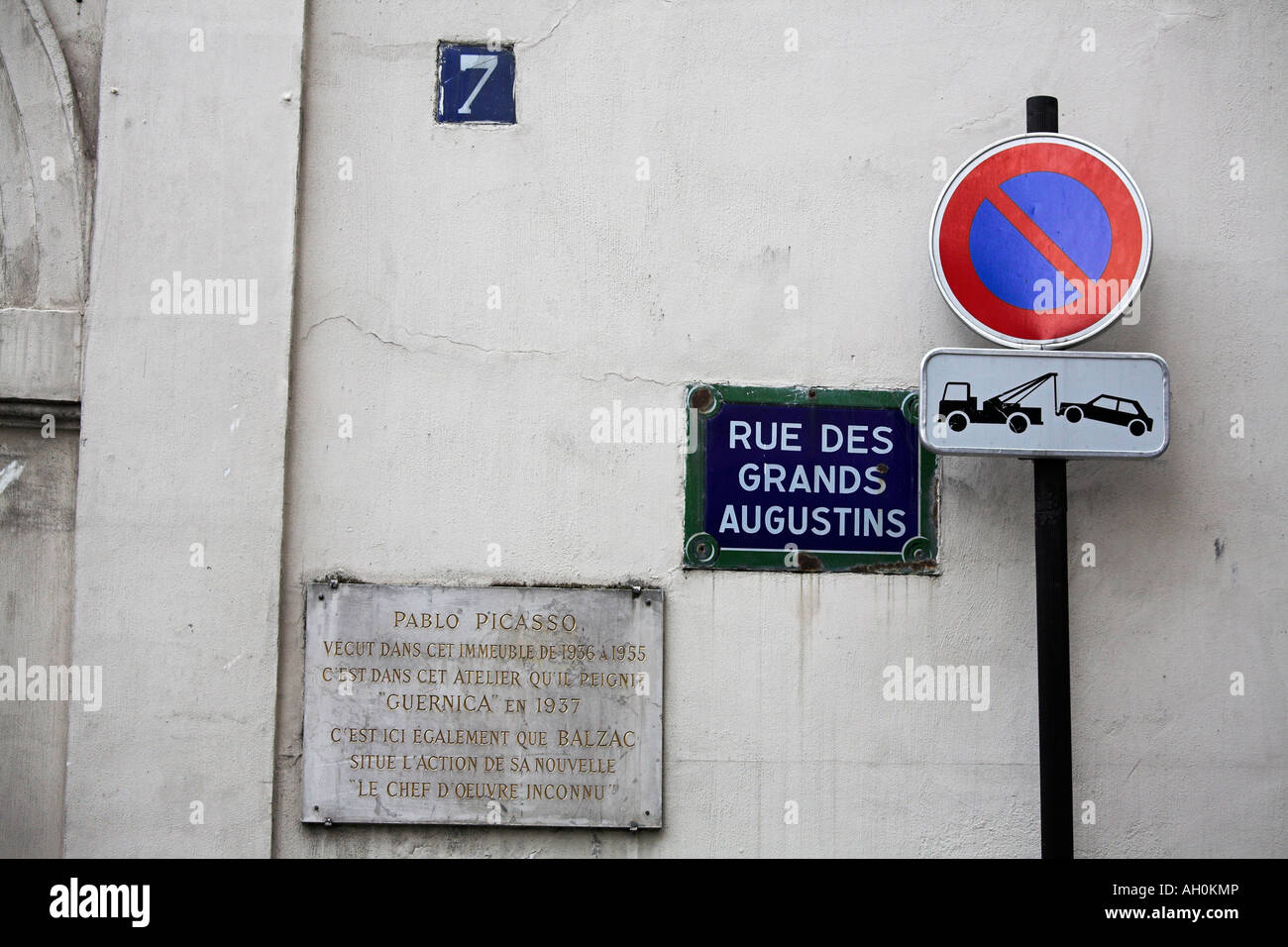 Street sign marking the place of Pablo Picasso's home and studio in Paris - Stock Image