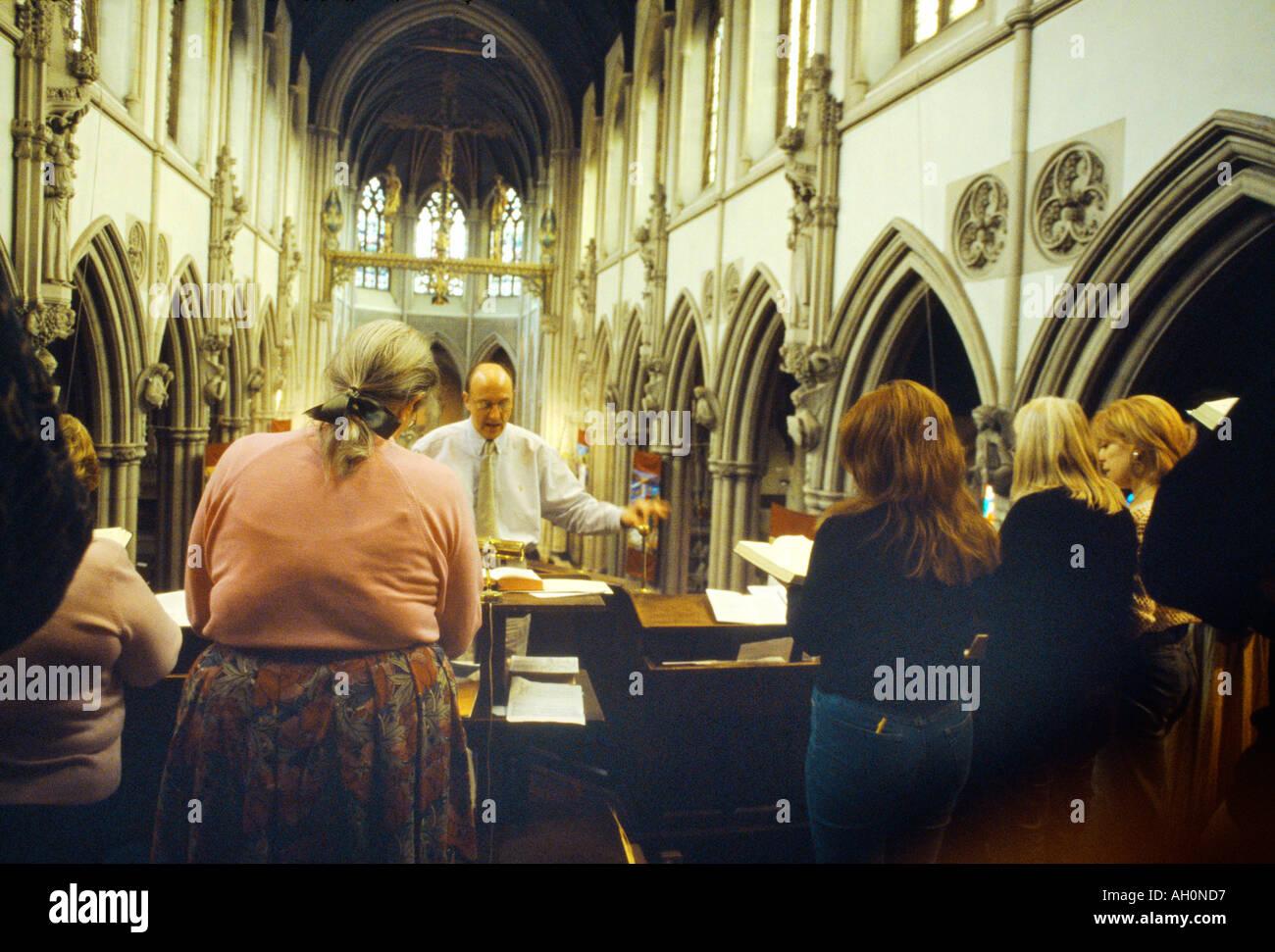 Wimbledon England Easter Sunday Sacred Hearts Church Choir and Choirmaster - Stock Image