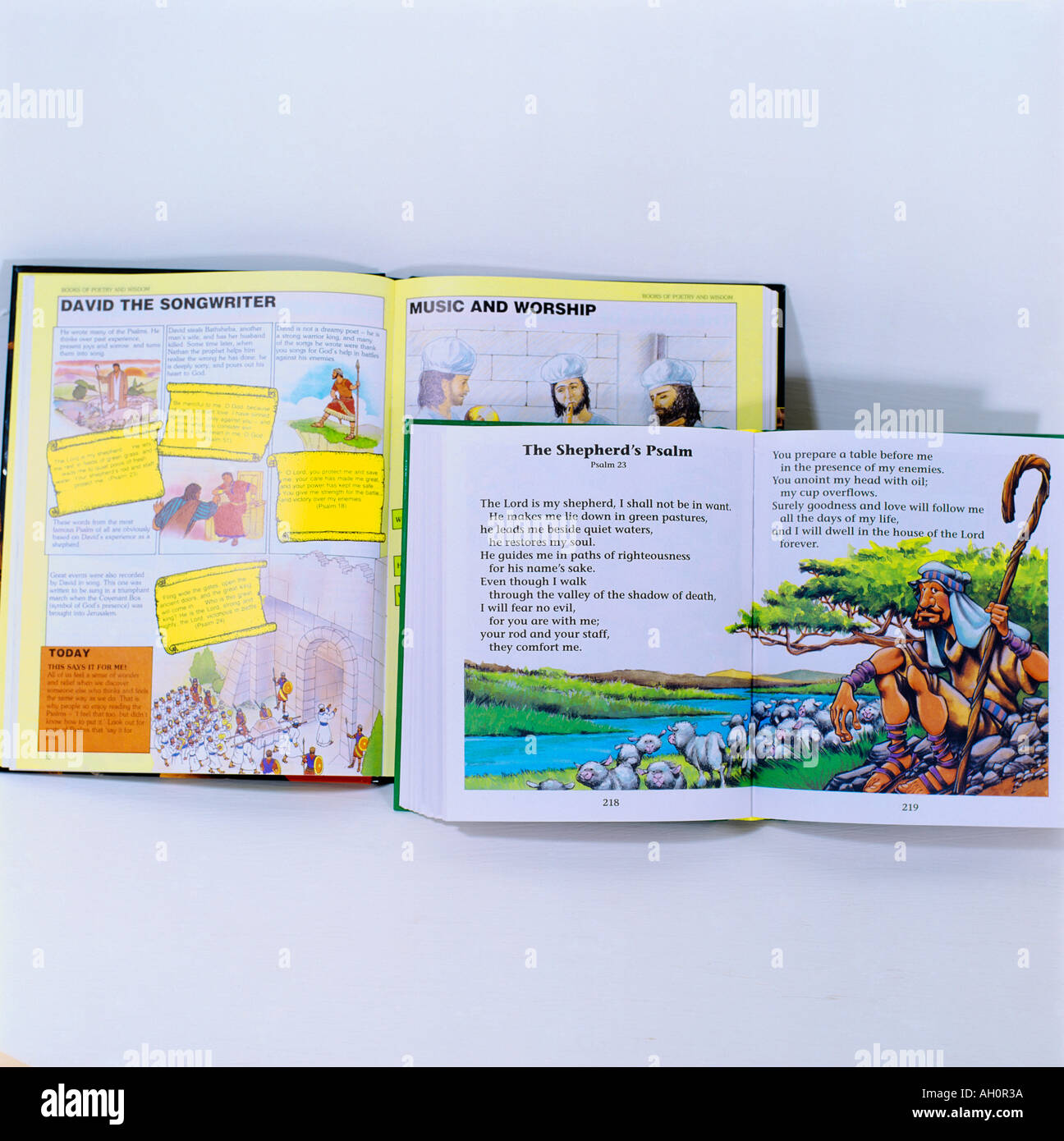Psalm 23 in Childrens Bibles Stock Photo