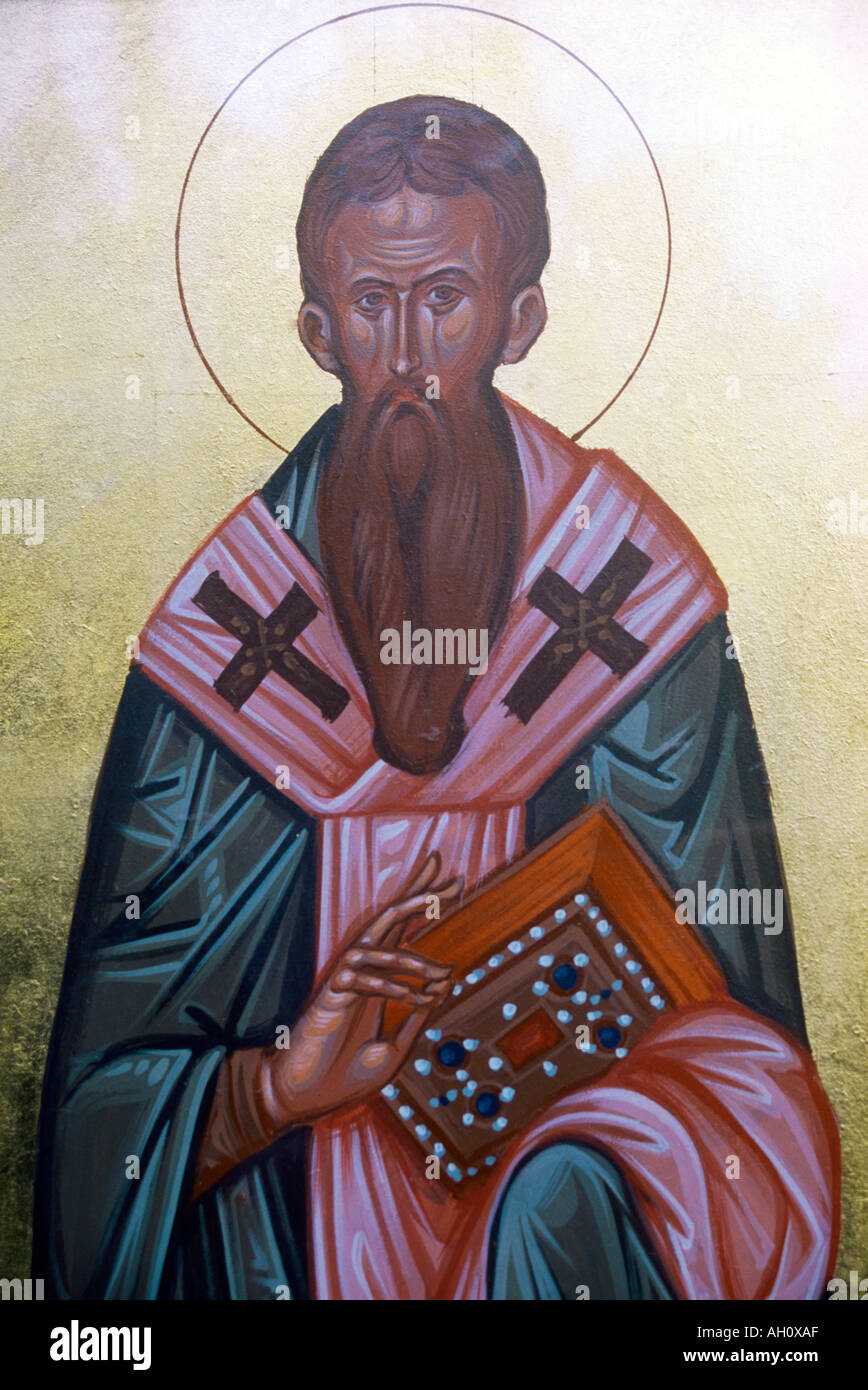 Saint Basil The Great Dressed as a Bishop Holding a Jeweled Book to Represent his Importance as a Doctor of the Church - Stock Image