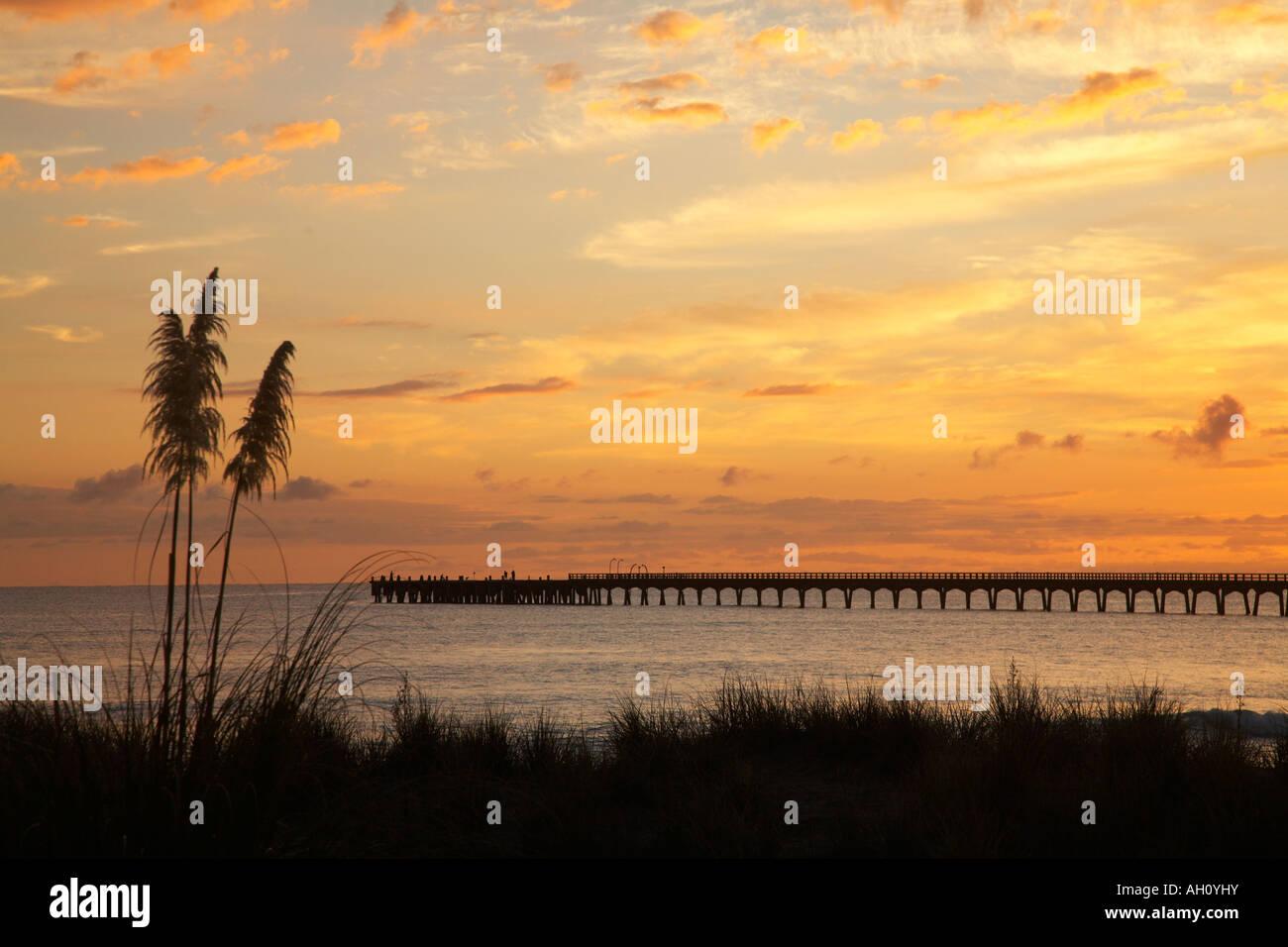 sunrise over sand dune and wharf at tolaga bay orange - Stock Image