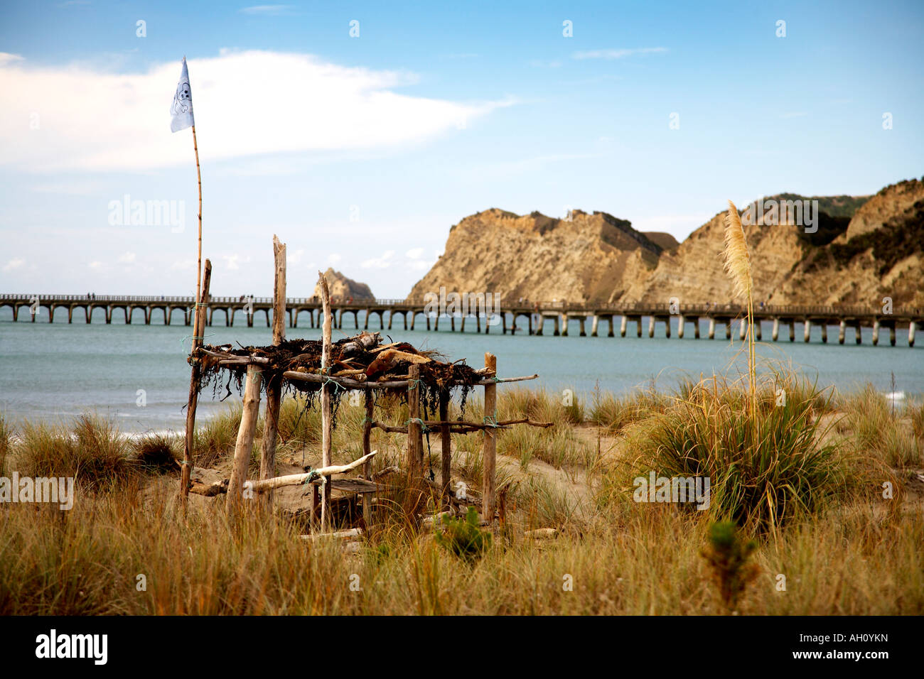 pirate hut made in sand dunes at tolaga bay - Stock Image