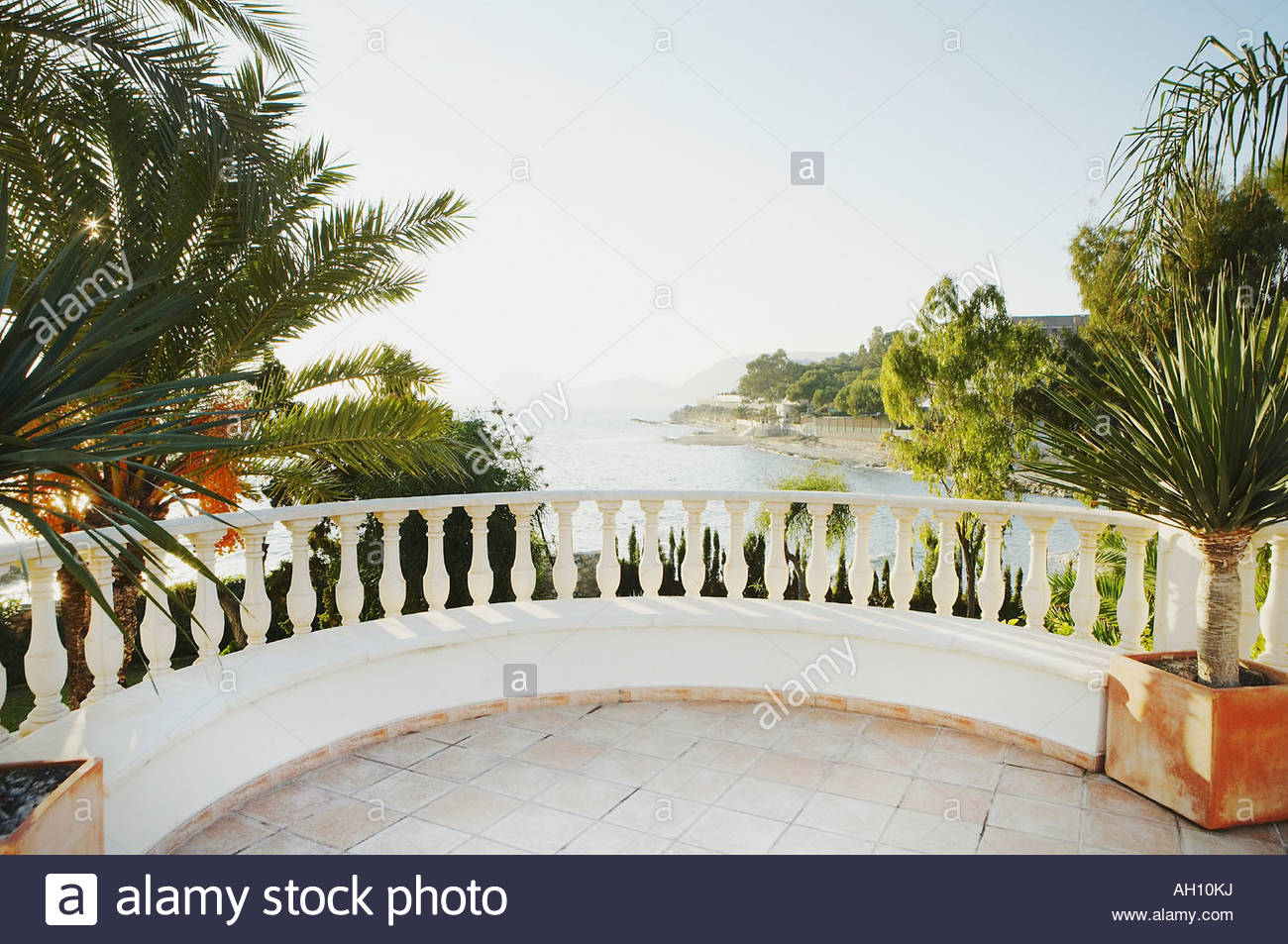 Terrace with palms above body of water - Stock Image