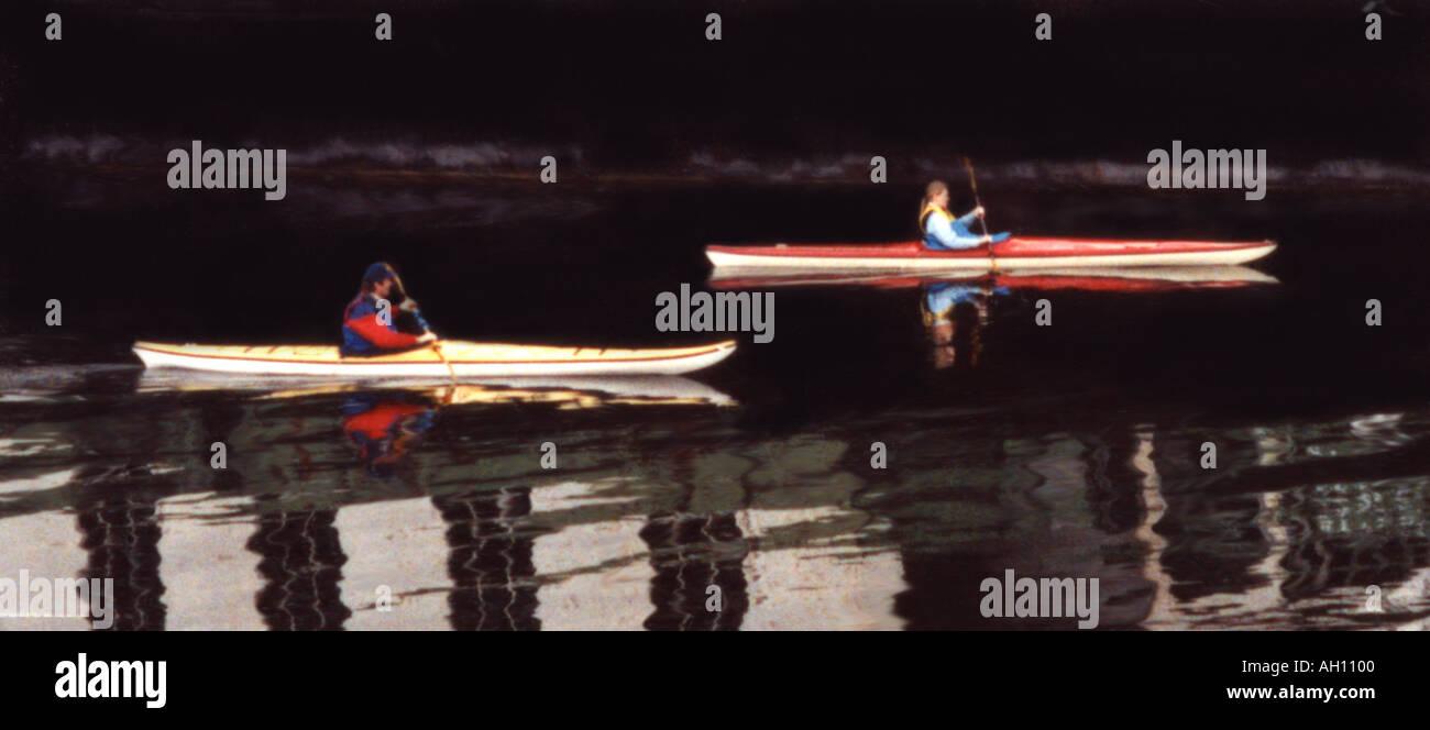 Kayaks on Lake Union Seattle Washington - Stock Image