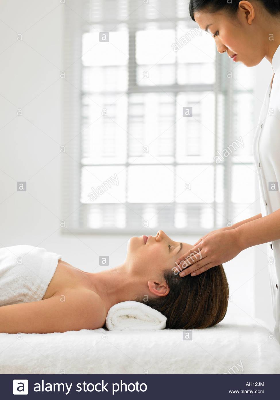 A woman getting a massage Stock Photo
