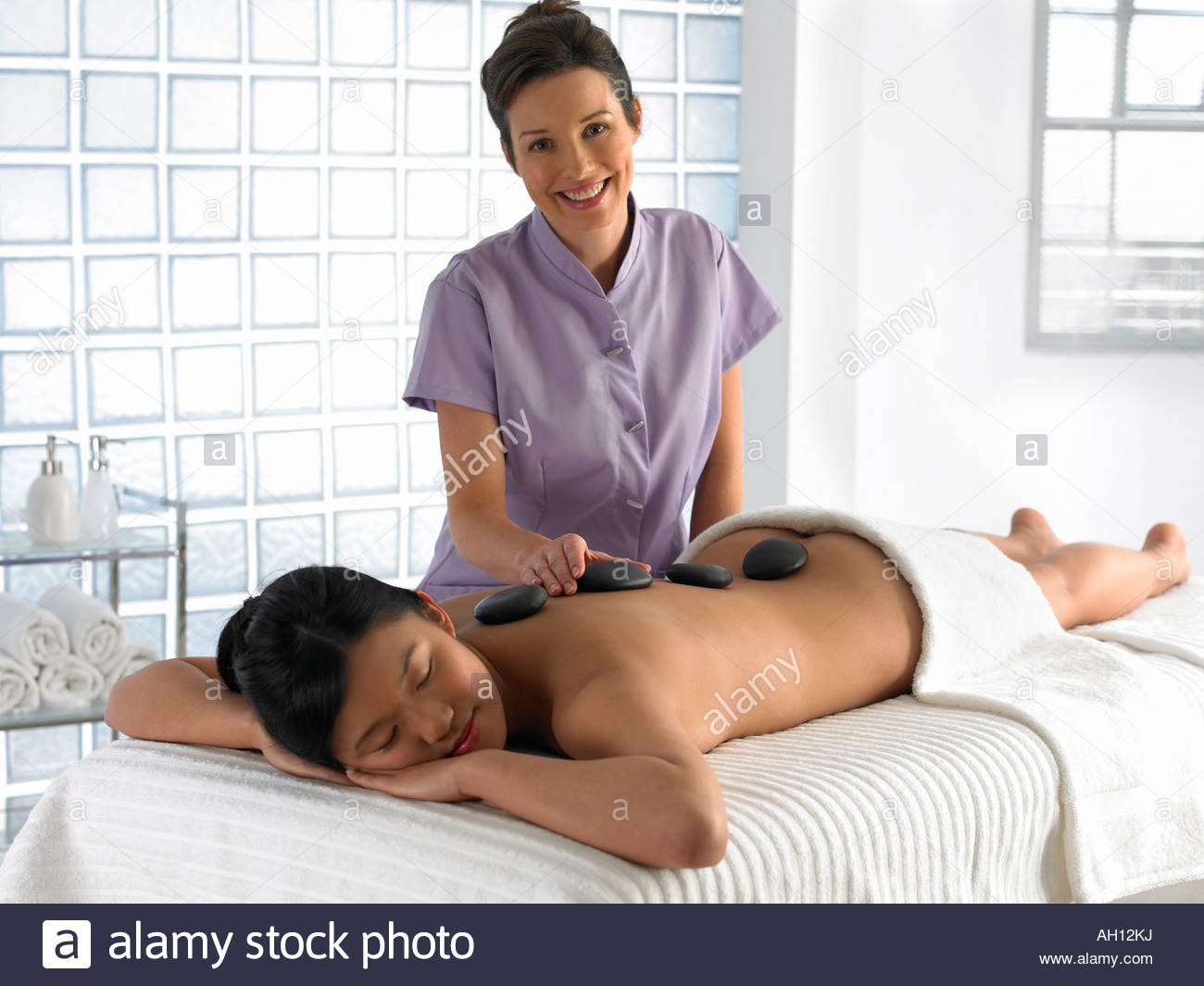 A woman getting a massage Stock Photo