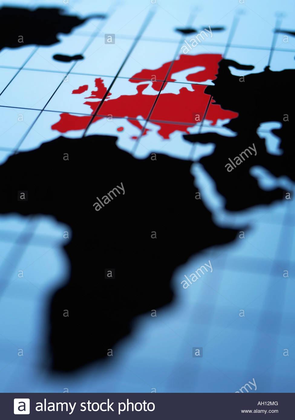 Map of eastern hemisphere highlighting Europe - Stock Image