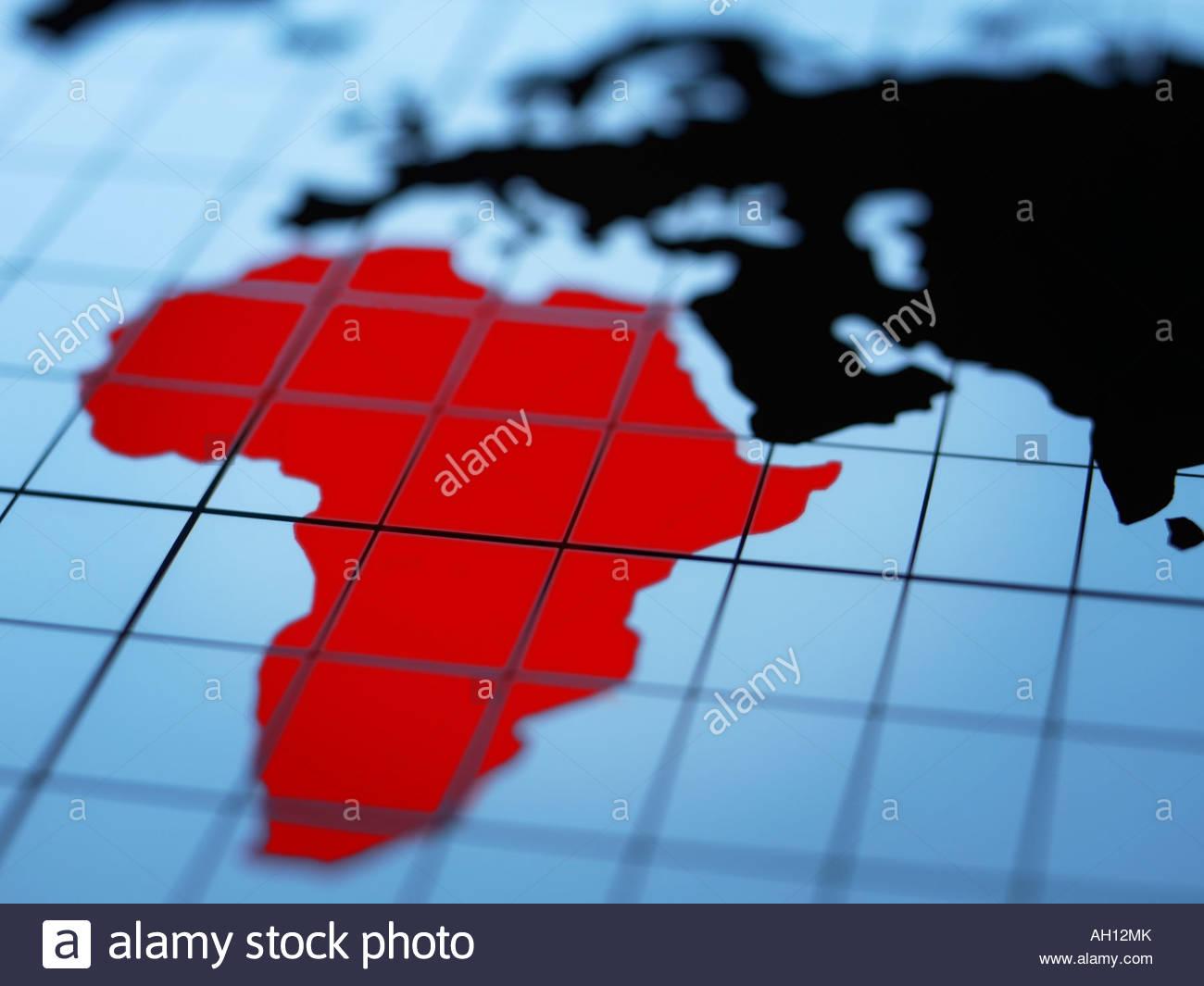 Map of eastern hemisphere highlighting Africa - Stock Image