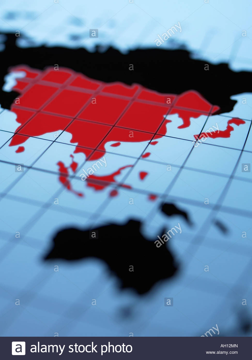 Map of eastern hemisphere highlighting Asia - Stock Image