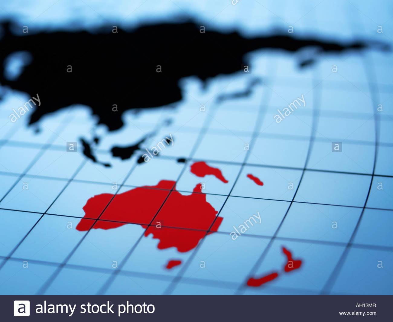 Map of eastern hemisphere highlighting Australia - Stock Image