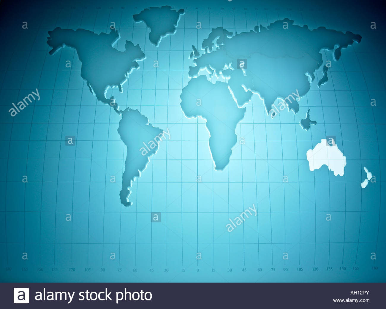 Map of the world highlighting Australia and New Zealand - Stock Image