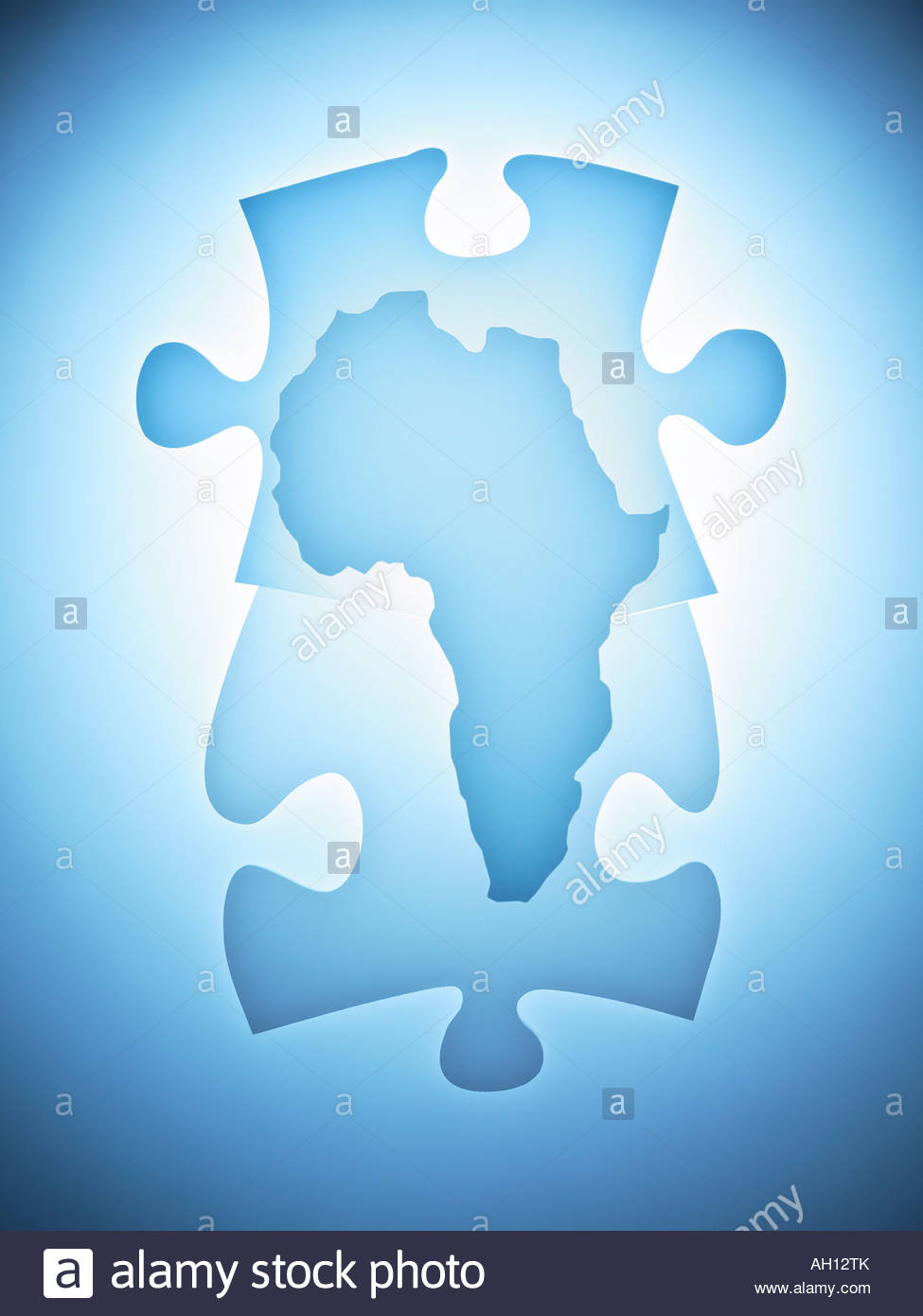 Symbolic puzzle pieces combined with map of